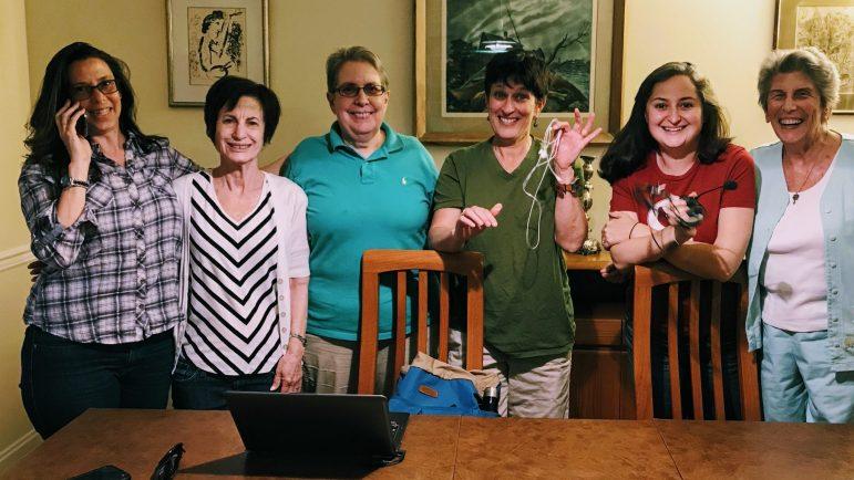 Six JUFJ Campaign Fund women at a phone bank.