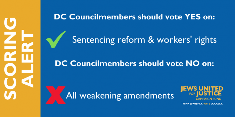Scoring alert: DC Councilmembers should vote YES on sentencing reform and workers rights.